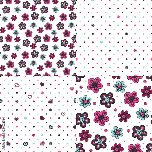 Stylized flowers and hearts on a white background. Set of seamless patterns. - 234026564