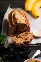 Vegan banana tahini and chocolate bread.style vintage