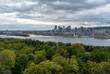 Montreal Cityscape Skyline with river in foreground