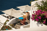typical architecture of houses on the island of Santorini in Greece in the Cyclades - 234037982