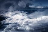 Fantastic winter landscape with snowy hills. Carpathian mountains, Ukraine. Landscape photography - 234042153
