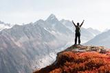Amazing view on Monte Bianco mountains range with tourist on a foreground. Vallon de Berard Nature Preserve, Chamonix, Graian Alps. Landscape photography - 234042372