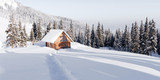 Fantastic winter landscape with wooden house in snowy mountains. Christmas holiday concept. Carpathians mountain, Ukraine, Europe - 234045145