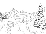 People riding on snowboard at the mountains graphic black white landscape sketch illustration vector - 234048553