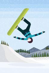 Snowboarder man jumping snowy mountain fir tree forest landscape background sportsman snowboarding winter vacation flat vertical vector illustration © mast3r