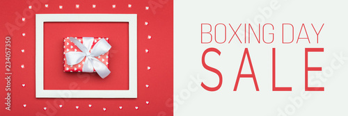 Boxing Day Sale banner. Festive winter holidays Christmas Sale background.