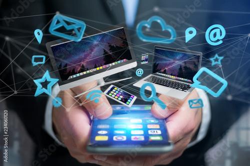 Urządzenia takie jak smartfon, tablet lub komputer latający nad siecią połączeń i app-3d