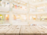 Empty wood table and Blurred background image. supermarket blur background with space display montage for product. - 234065741