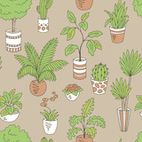 Home plants flower graphic color seamless pattern background sketch illustration vector - 234068313