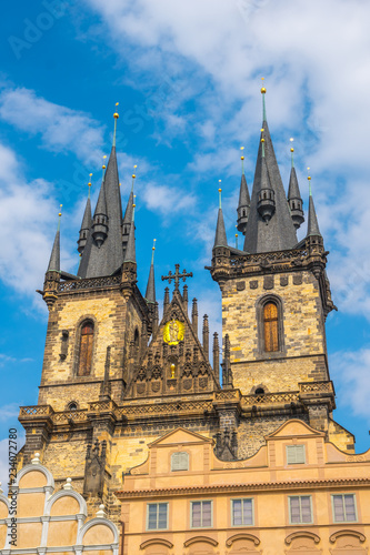 Prague, Czech Republic - 21.08.2018: Church of Our Lady before Tyn at Old Town square in Prague