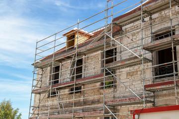 Travaux sur façade de maison