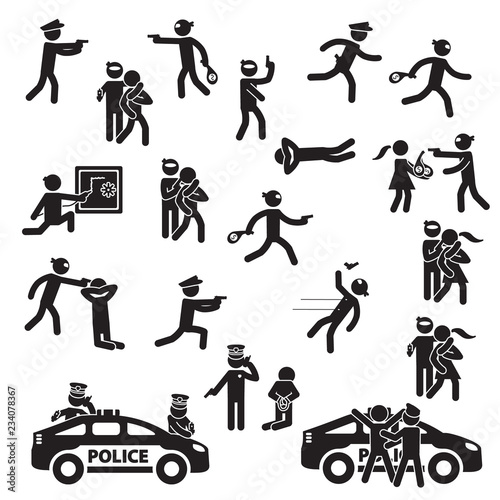 Set Images Buy Photos And Icon Detailview Robbery Ap Vector Crime