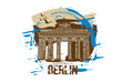 Brandenburg gate, Berlin / Germany city design. Hand drawn illustration.