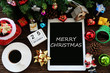 Leinwandbild Motiv Merry Christmas words on tablet Concept celebrate Christmas Day