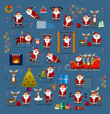 Santa clauses in different poses for Christmas decoration (for postcard, for the site, for banners, for presentations and promotions). Christmas deer in different poses. Great set.
