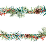 Watercolor Christmas floral banner. Hand painted floral garland with berries and fir branch, eucalyptus leaves, pine cone isolated on white background. Holiday clip art for design, print - 234094378