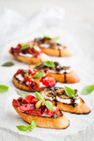 Sun dried tomatoes, cream cheese and fried mushrooms bruschetta