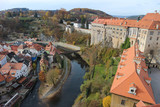 Beautiful view of Vltava river and Cesky Krumlov town, Czech Republic