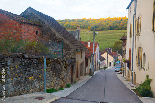 fototapeta na ścianę Streets of old French town Bligny-sur-Ouche, located in France