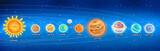 Sistema solar con texto en aleman © childrendrawings