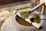 Bamboo ladle fountain