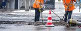 Straßenarbeiter im Winter mit Presslufthammer © eyetronic