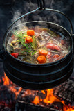 Delicious and fresh hunter's stew on campfire - 234155521