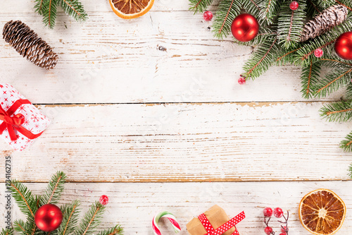 Christmas decoration on wooden background - 234162735
