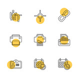 images , printer , messages , pin , eps icons set vector
