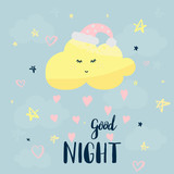 Vector template night cards with cute cartoon characters and phrases with lettering. - 234169351