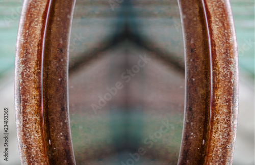 abstract of rusty barrel edges, abstract arrow guide, direction - 234183365