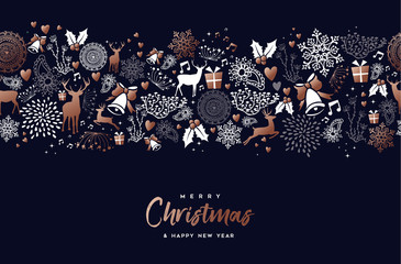 Christmas and new year copper pattern deer card