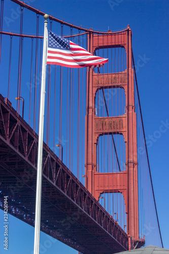 American Flag and Golden Gate Bridge