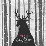Vector illustration of a deer in pine tree forest at wintertime. Merry Christmas and Happy New Year greeting card.