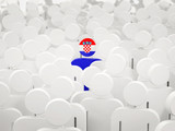 Man with flag of croatia in a crowd
