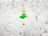 Man with flag of india in a crowd