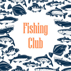 Fishing club poster with fishes in pattern frame