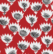 seamless abstract flower pattern  on red - 234214386