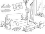 Mess in the living room graphic black white home interior sketch illustration vector - 234215396