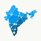 Image relative to India travel. Simple map textured by lines and dots pattern