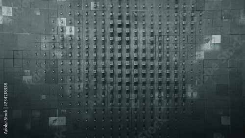 Blocks on wall abstract 3D render