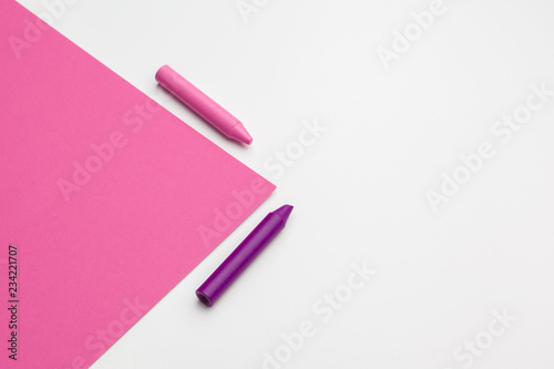 Pencil crayon on a bright pink background. Art concept - 234221707
