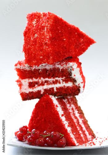 fototapeta na ścianę red velvet cake with cream and strawberry