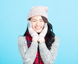 Beautiful happy young woman winter portrait