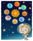 niño austronauta con planetas en el espacio