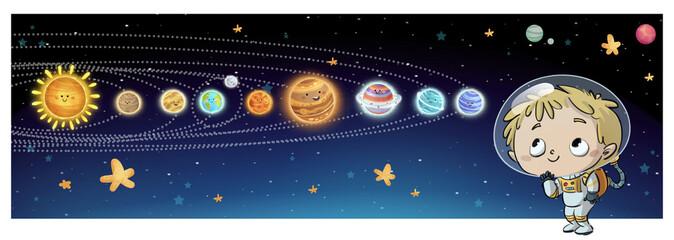niño austronauta con planetas