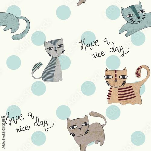 fototapeta na ścianę Vector hand drawn seamless pattern with cats
