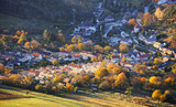 Slovakia village at autumn sunset landscape with house - Plavecke Podhradie - 234228314