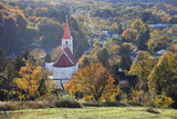 Church in Pernek, Slovakia village with forest - 234228333
