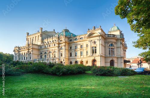 Juliusz Slowacki Theatre in Krakow, Poland. Summer view.
